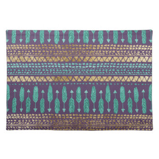 Gold Teal and Purple Arrows Tribal Aztec Pattern Placemat