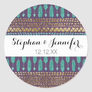 Gold Teal and Purple Arrows Tribal Aztec Pattern Round Sticker