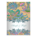 Gold Teal Blue Paisley Indian Wedding Reception 9 Cm X 13 Cm Invitation Card