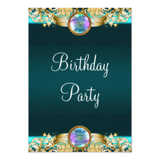 Gold Teal Blue Womans Birthday Party Card