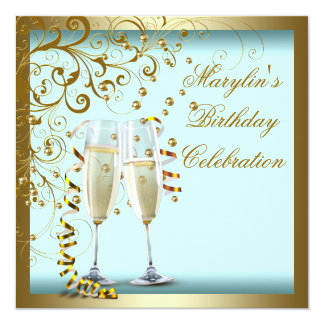 Gold Teal Blue Womans Teal Blue Birthday Party 13 Cm X 13 Cm Square Invitation Card