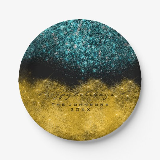 Gold Teal Confetti Glitter Black White Holiday Paper