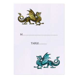 Gold Teal Dragon Wedding Place Card Pack Of Chubby Business Cards