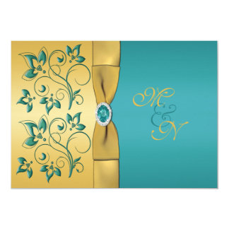 Gold, Teal Floral Monogram Wedding Invitation