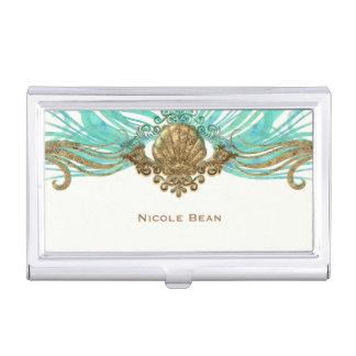 Gold & Teal Sea Shell Glam Beach Elegant Custom Business Card Case