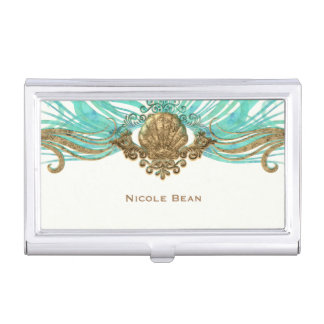 Gold & Teal Sea Shell Glam Beach Elegant Custom Business Card Holder
