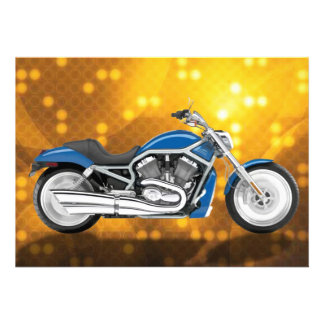 Gold Tech Background with Blue Bike Invitations