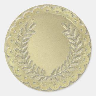 Gold Template Customize Laurel Wreath Classic Round Sticker