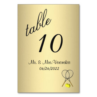 Gold Tennis Table Number