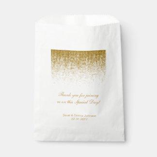 Gold Texture Confetti Wedding Shower | Personalize Favour Bags