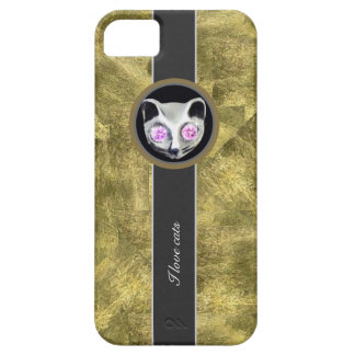 Gold texture, love cats iPhone 5 cover