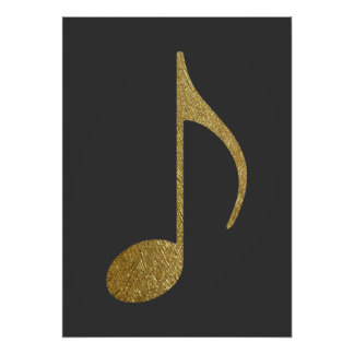 gold texture music note poster