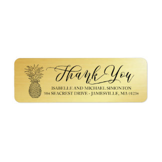 Gold Thank You and Pineapple Return Address Labels