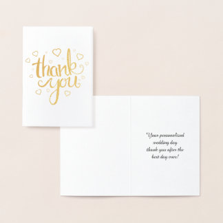Gold Thank You Calligraphy Typography Foil Card