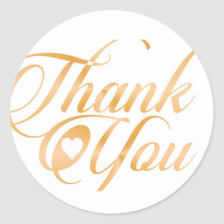 Gold Thank you Elegant typography script Classic Round Sticker