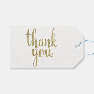 Gold thank you favor tags, glitter, horizontal