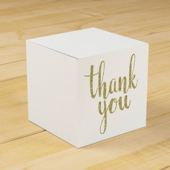 Gold thank you favour boxes, glitter favour box