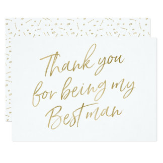 "Gold ""Thank you for being my best man"" Card"