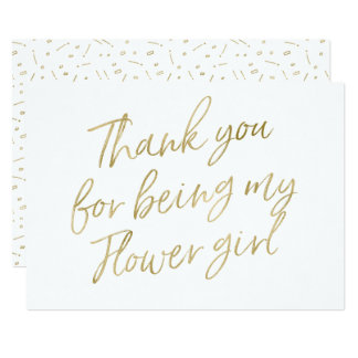 "Gold ""Thank you for being my flower girl"" Card"