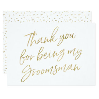 "Gold ""Thank you for being my groomsman"" Card"