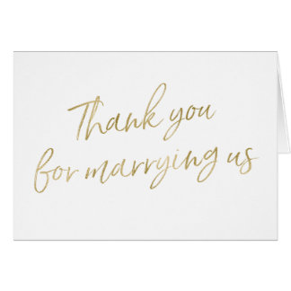 """Gold """"Thank you for marrying us"""" Card"""