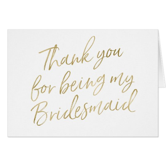 """Gold """"Thank you for my being my bridesmaid"""""""