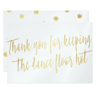 "Gold ""Thank you"" for wedding band, musician or DJ Card"