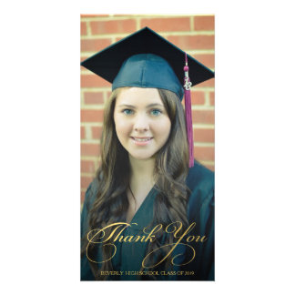 Gold Thank You Script Overlay Graduation Photo Picture Card