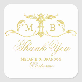 Gold Thank You Stickers gold monogram wedding