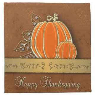 Gold Thanksgiving Pumpkin Leaves - Cloth Napkin