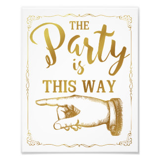 gold This way party wedding sign left arrow