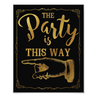 gold This way party wedding sign left arrow Photo