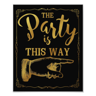 gold This way party wedding sign right arrow
