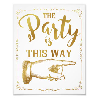gold This way party wedding sign right arrow Photo