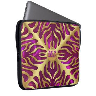 Gold Tiger Magenta Satin Lush Laptop Sleeve
