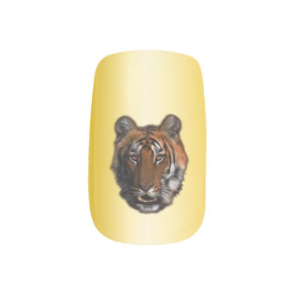 Gold Tiger Print Design Minx Nail Art