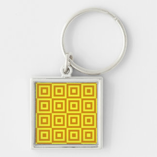 Gold Tiles Silver-Colored Square Key Ring