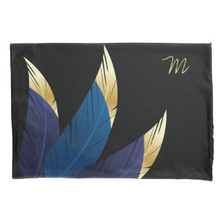 Gold-Tipped Blue Feathers | Pillowcase