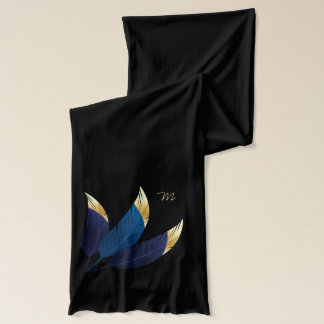 Gold-Tipped Blue Feathers | Scarf