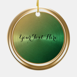 Gold to Green Ombre Gradient Round Ceramic Decoration