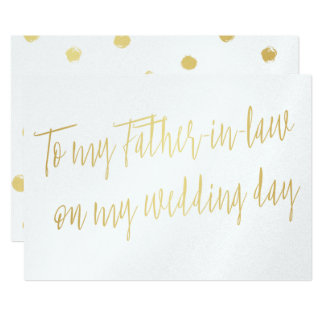 "Gold ""To my father-in-law on my wedding day"" 13 Cm X 18 Cm Invitation Card"