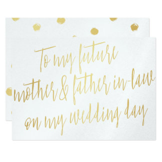"""Gold """"To my future mother and father-in-law"""" 13 Cm X 18 Cm Invitation Card"""
