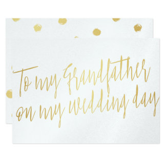"Gold ""To my grandfather on my wedding day"" 13 Cm X 18 Cm Invitation Card"