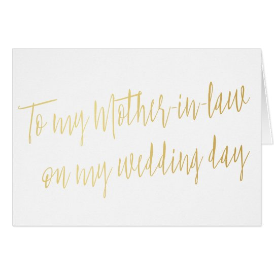 "Gold ""To my mother-in-law on my wedding day"""