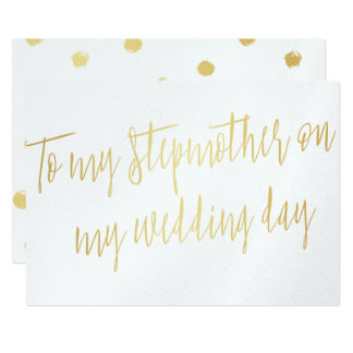 "Gold ""To my stepmother on my wedding day"" Card"