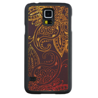 Gold to Red Mehndi on Purple Carved Maple Galaxy S5 Case