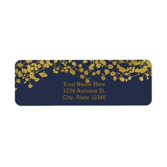 Gold Tone Baby's Breath Blue Elegant Invitation Return Address Label