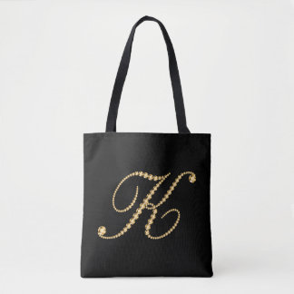 Gold Tone Diamonds Letter K Monogram Tote Bag