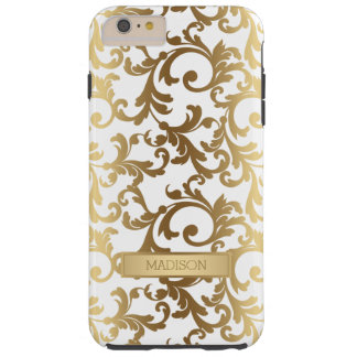Gold Tone Elegant Damask Pattern Tough iPhone 6 Plus Case