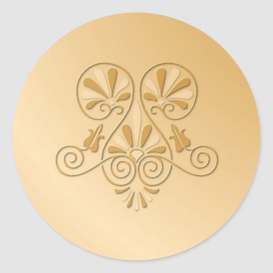 Gold tone embossed Wedding Stickers